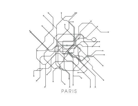 Paris Subway Map Print Paris Metro Map Poster by MetroMaps | 2 ...