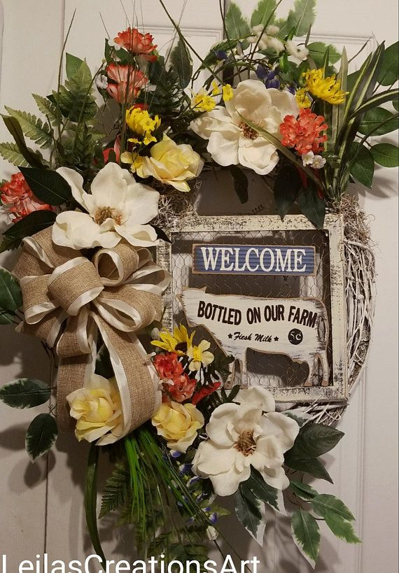Country Rustic Wreath, Front Door Rustic Wreath, Welcome Wreath, Country  Rustic Welcome Wreath