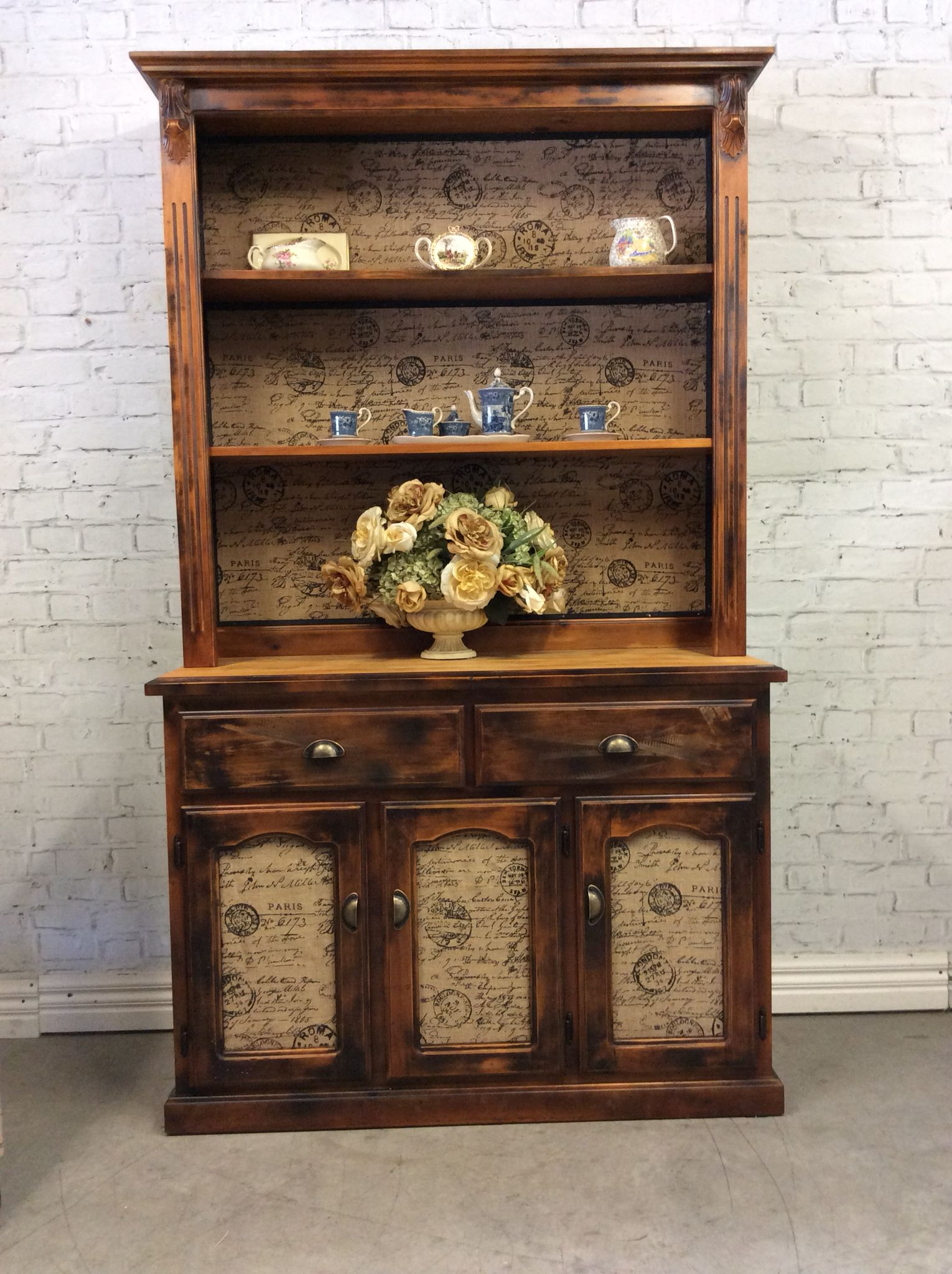 Attirant Reclaimed French Provincial Industrial Style Kitchen Dresser Buffet Hutch