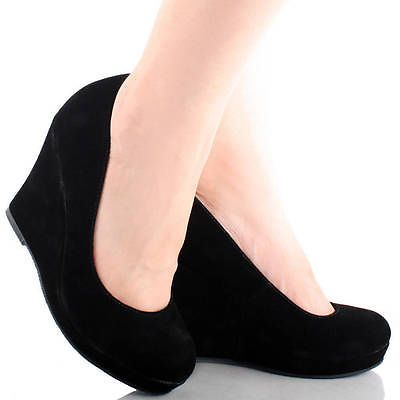 black suede round toe slip on women high heel platform