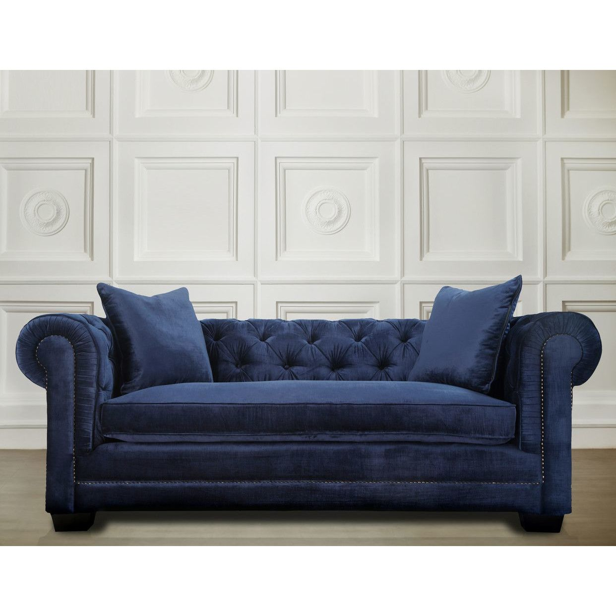 Modern Living Room Furniture Luxury Velvet Blue Sofa Removable ...