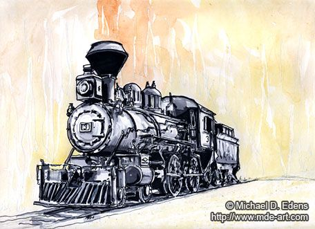 Old Train Drawing Old Steam Locomotive Drawing