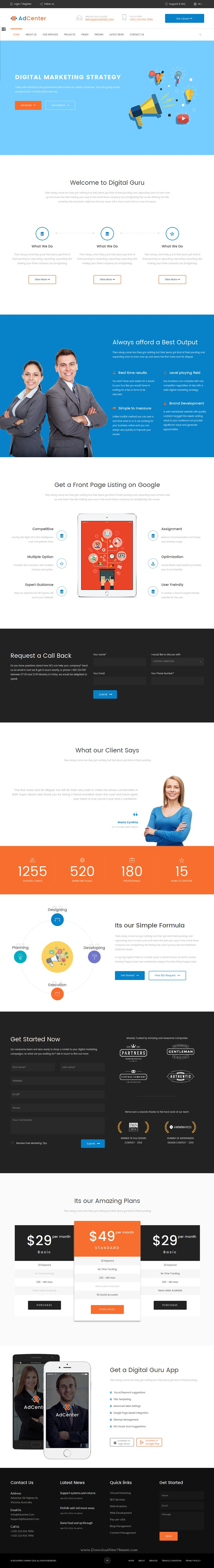 Adcenter is Digital Marketing Bootstrap HTML #Template suitable for Marketing Agency, Studios and #Consultancy Services #website. Download Now!