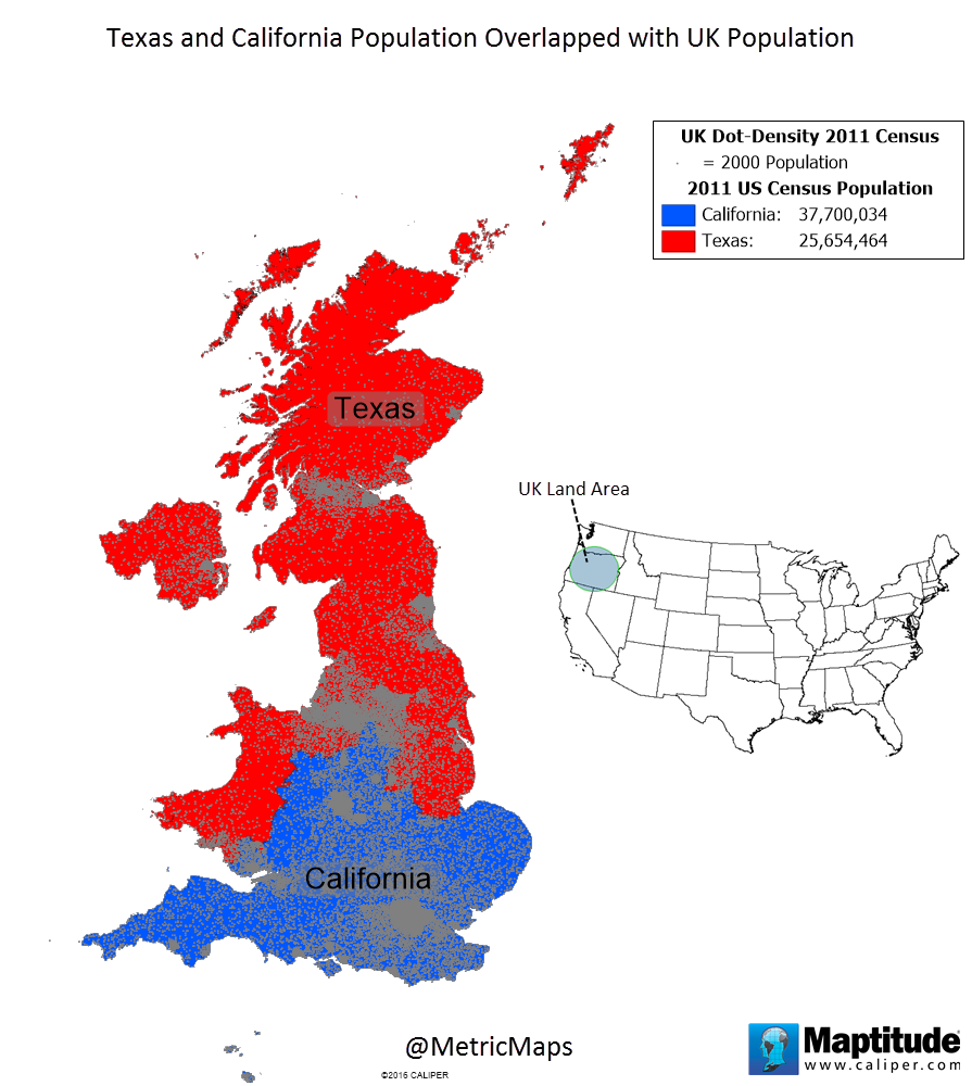 Texas & California population overlapped with UK ...