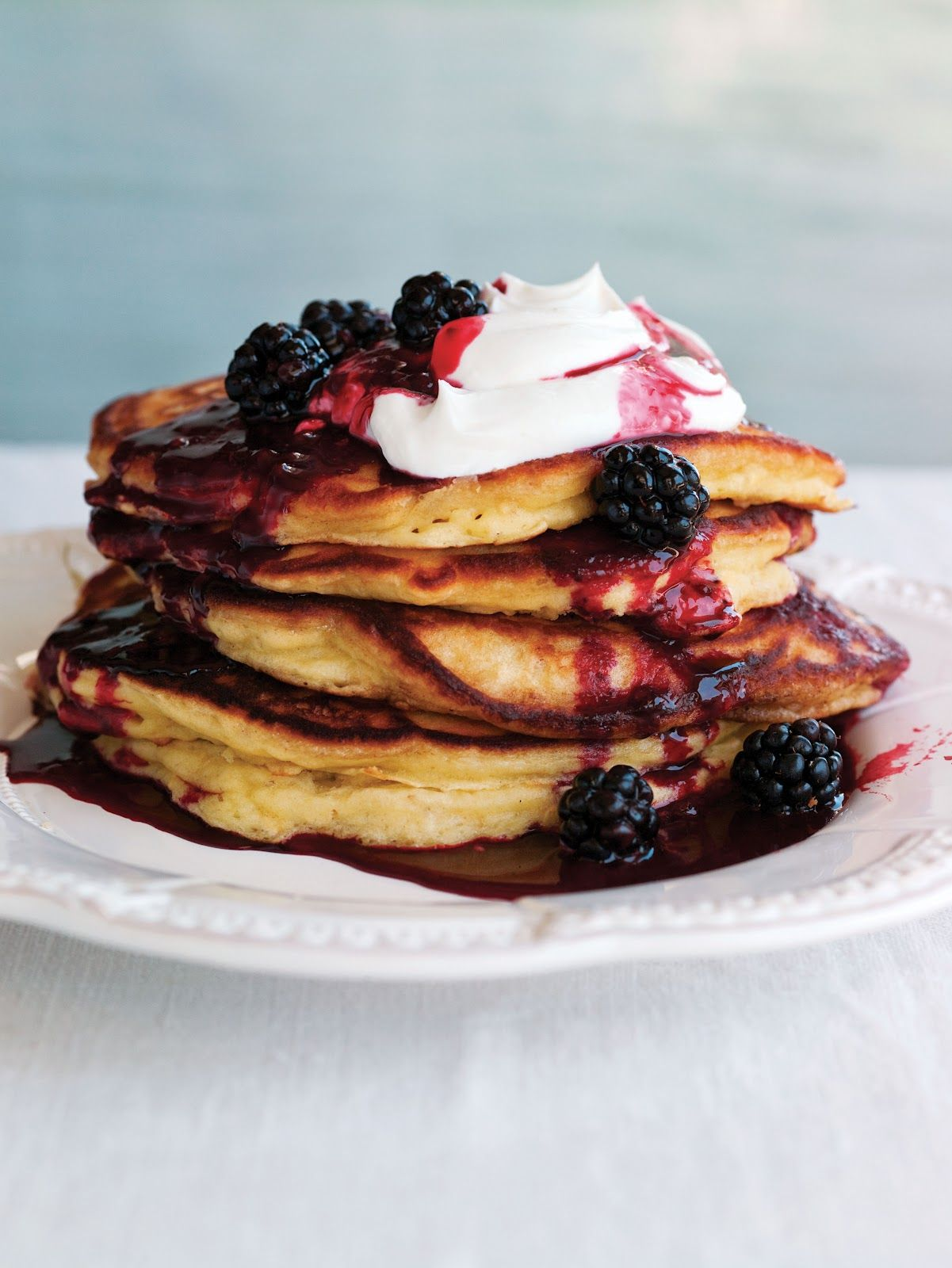 Oatmeal Yogurt Pancakes with Blackberry Compote