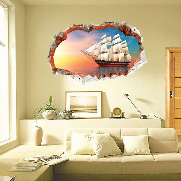 Chic 3D Sailing Ship Pattern Wall Sticker For Livingroom Bedroom