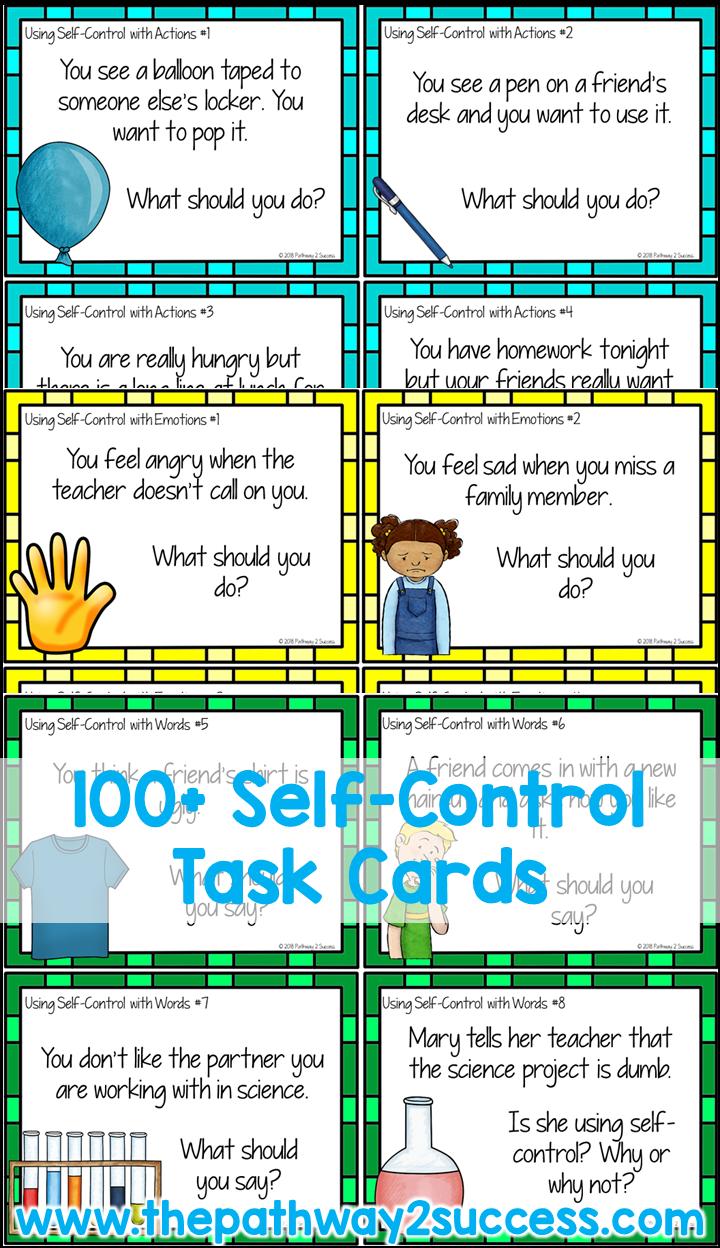 Self Control Task Cards #emotionalcontrol