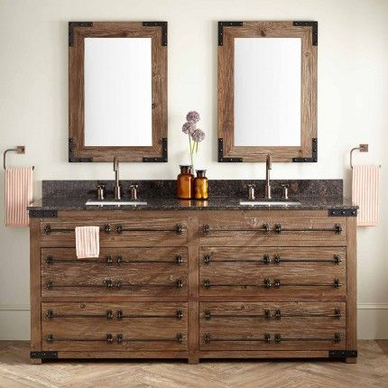"72"" Bonner Reclaimed Wood Double Vanity for Rectangular Undermount Sink - Wax Pine"
