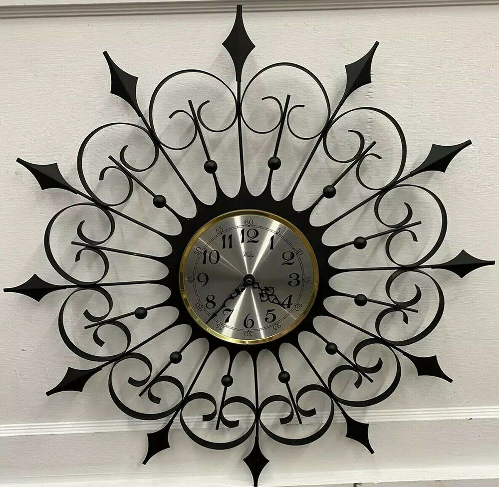 Vintage Welby Mid Century Modern Black Wrought Iron Atomic Starburst Wall Clock Welby Wall Clock Clock Atomic Starburst