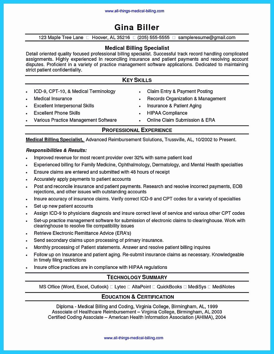 Medical Biller Resume Examples Awesome Exciting Billing Specialist
