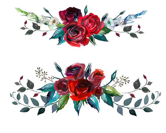 Burgundy Red Scarlett Roses Png Wedding Flowers Invitation Clipart Watercolor Digital Instant Download Images Pictures Art Commercial Use In 2021 Watercolor Flowers Tutorial Flower Clipart Floral Painting