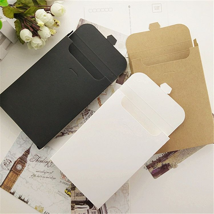 White Gifts Box Black Kraft Paper Postcard Photo Box Invitation Play Card Packaging Cardboard Boxes Postcards Black Kraft Paper Box Invitations Postcard Boxes
