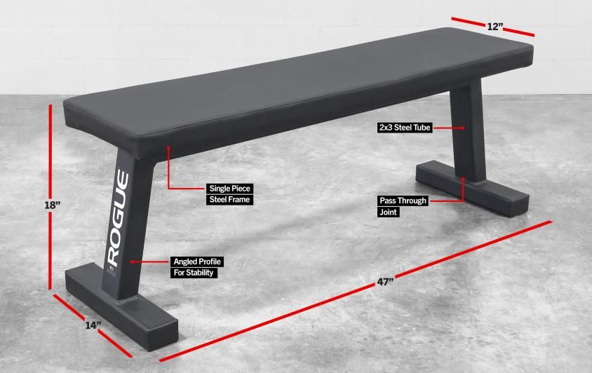 """The Rogue Flat Utility Bench 2.0 takes the weight bench back to basics, featuring 2x3"""" steel construction, and wide-set legs for maximized stability."""