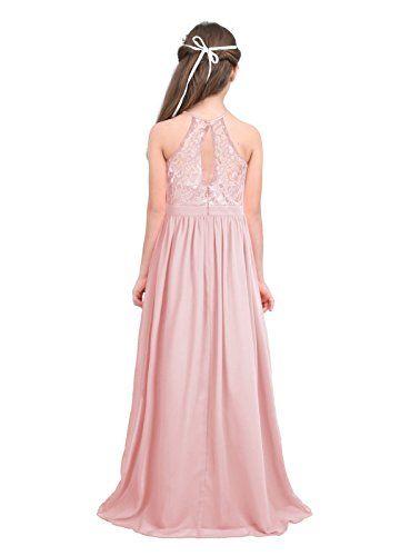a8f7c21e3ac57 Freebily Enfant Long Robe De Soirée Cocktail Fille Dentelle Fleur Costume  De Cérémonie Mariage Fille Robe