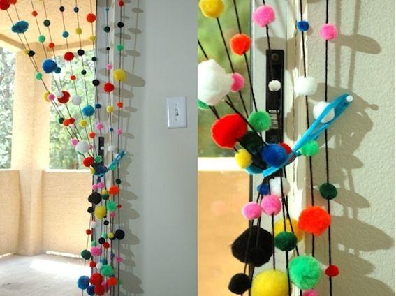 Roundup 10 Pom Pom Decor And Craft Projects Pom Pom Curtains Easy Home Decor Beaded Curtains
