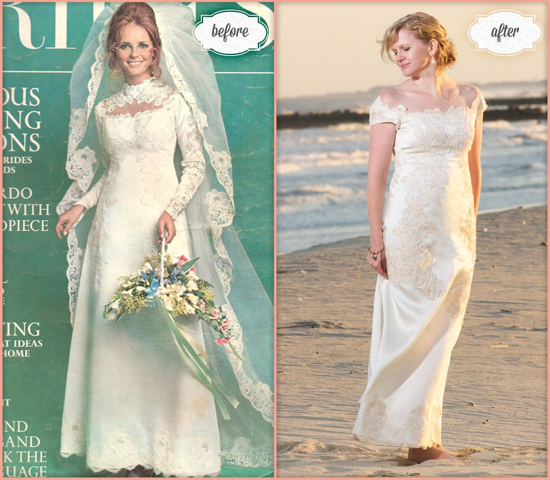 Bride Danielle Wore Her Mothers Original Wedding Dress Which Graced The Cover Of Brides Magazine In