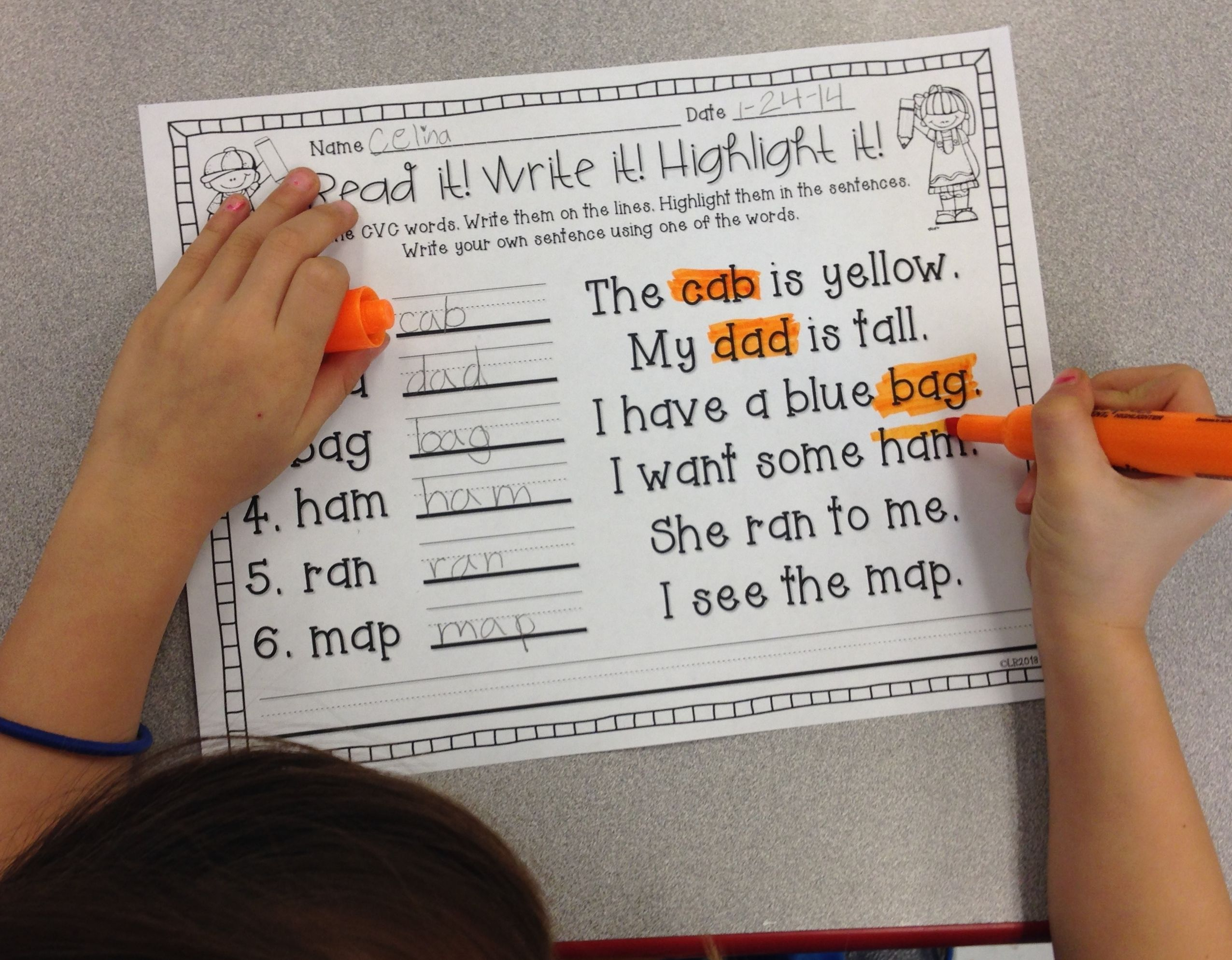 Read It Write It Highlight It Cvc Word And Sight Word