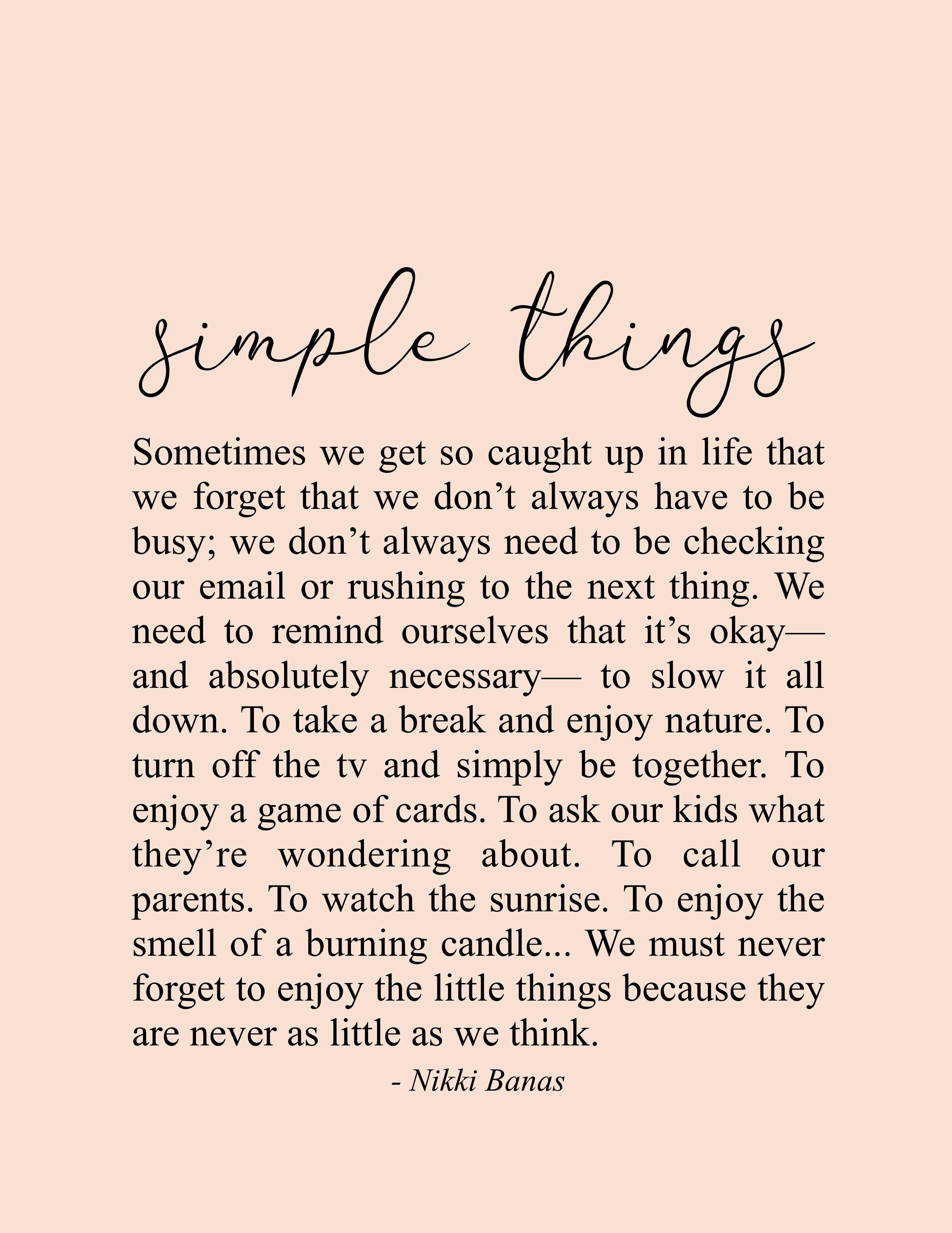 """Simple Things 8.5"""" x 11"""" Print"""