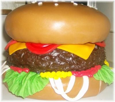 Cheeseburger Cake The Top And Bottom Bun Was Baked In The