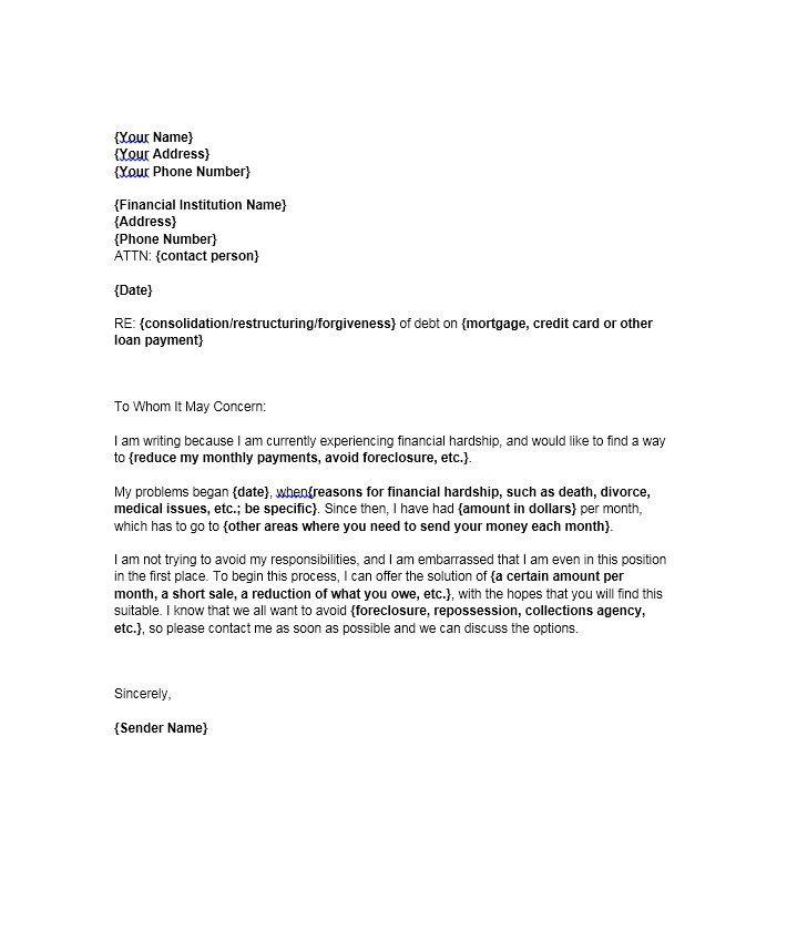Hardship Letter Template 01 Lettering Letter Templates Business Letter Template