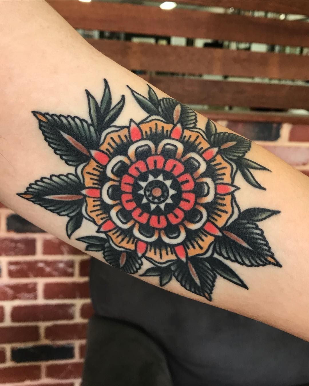 Foothills Electric Tattoo On Instagram Healed Bicep Flower On Cameron Thanks Mate Tattoos Elbow Tattoos Knee Tattoo