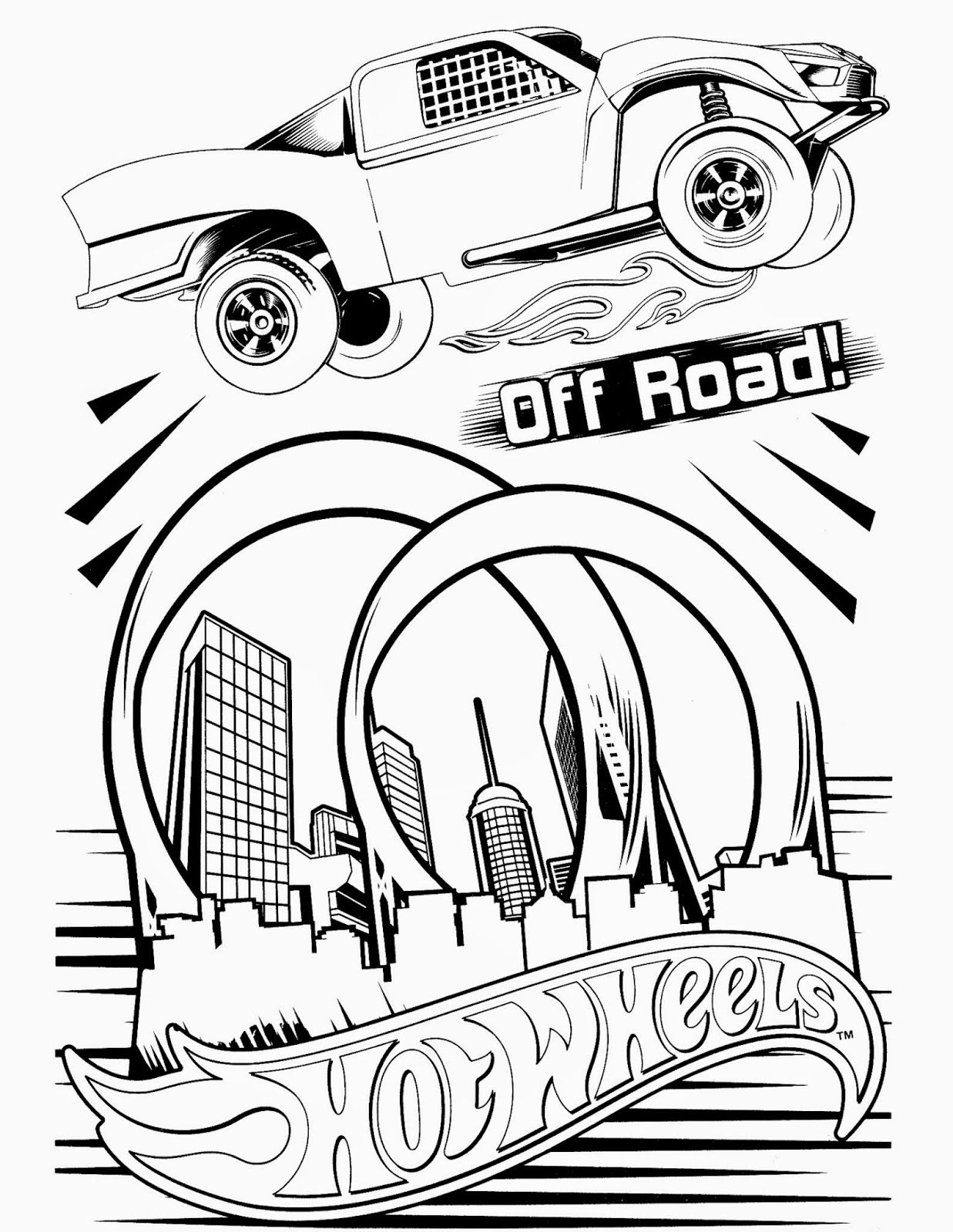 Free coloring pages hot wheels cars