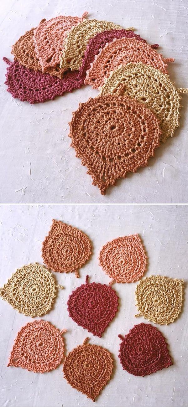 Leaf Coasters Free Crochet Pattern – Häkeln