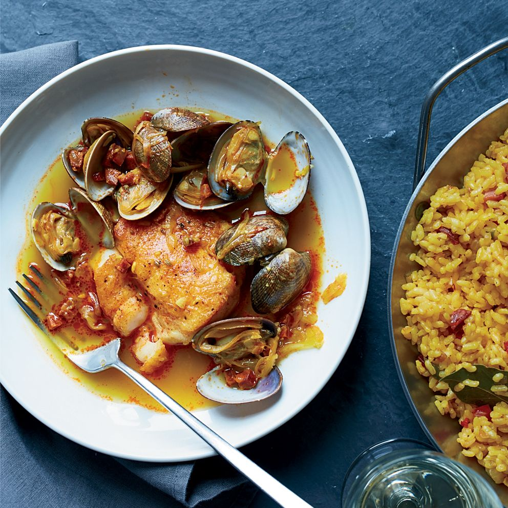 Hake clams and chorizo in broth with paella rice recipe rice food science forumfinder Images