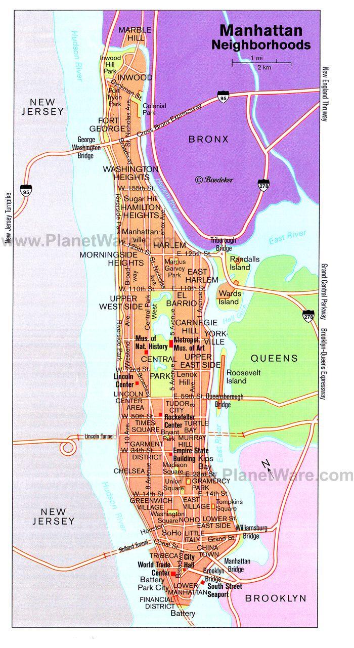 Map Of Manhattan Neighborhoods World Map - Nyc map with neighborhood names