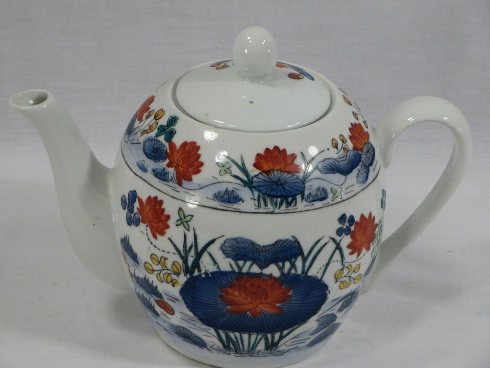 Vtg Williams Sonoma Grande Cuisine Porcelain Oriental Teapot Lily