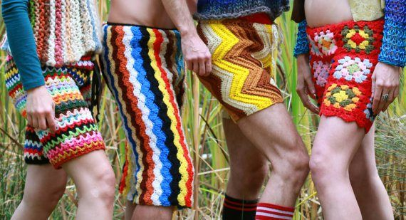 Crochet shorts for men. The likelihood of me running in these is pretty low.