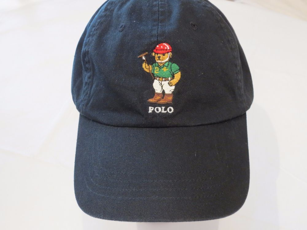Polo Ralph Lauren BEARS RARE bear hat cap golf black 6512200 RL14 logo Men's  NEW