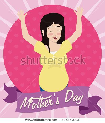 Happy Future Mom Celebrating Mother S Day With Her Hands Up With A Pretty Belly And Greeting Message In Ribbon Future Mom Happy Mothers Day Happy