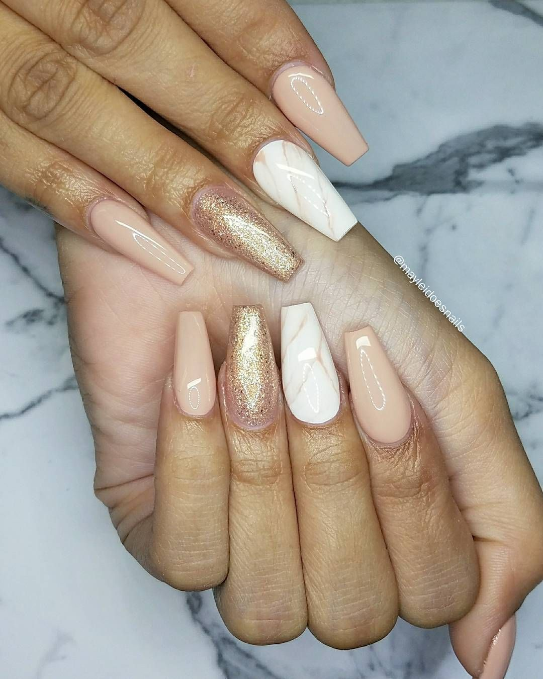 Peachy nudes coffin nail art