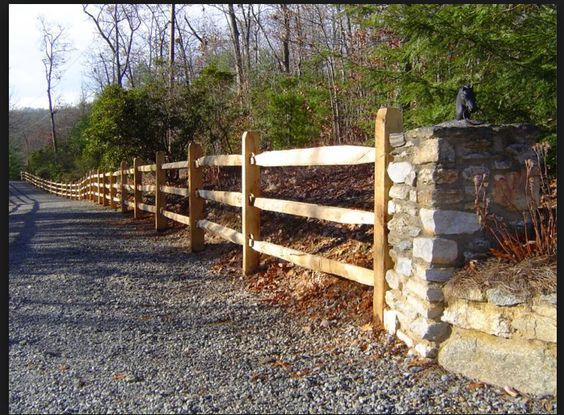 Split Rail Fencing With Stone Pillars Fences And Gates