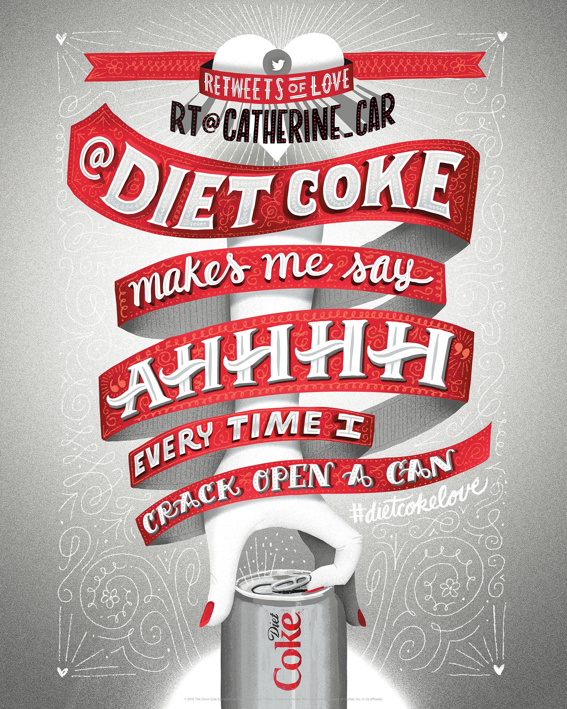 D ad poster design - Diet Coke Retweets Of Love Coca Cola Retweets Advertising Poster Illustration Design Award