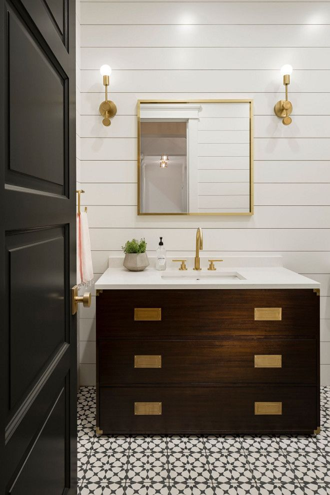 Modern Farmhouse Powder Room With Shiplap Paneling And