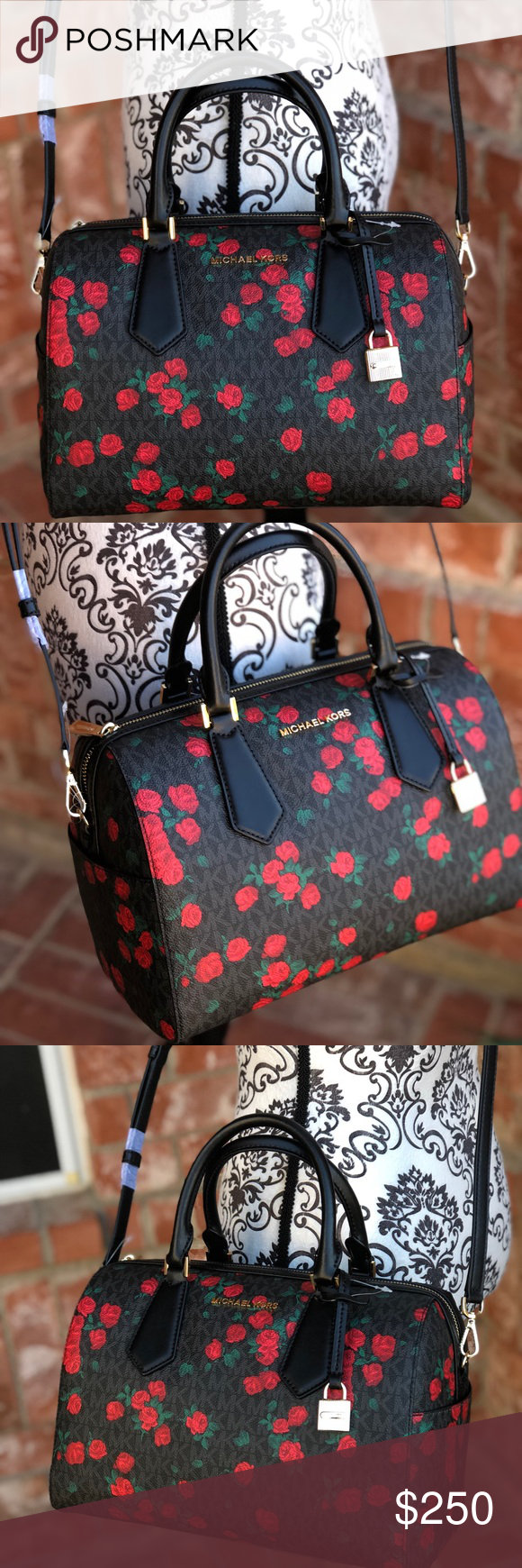 82ffad5a8321b3 Michael kors Hayes Large duffle bag floral black 100 % authentic guaranteed Michael  Kors Hayes Large Duffel Satchel Crossbody Black Red Floral PVC Coated ...