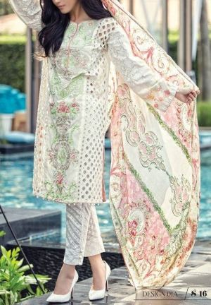 ab628a16a4 Pakistani Designer Lawn Suits by Maria.B and Get this off-white Embroidered  cotton lawn dress in just $154.99