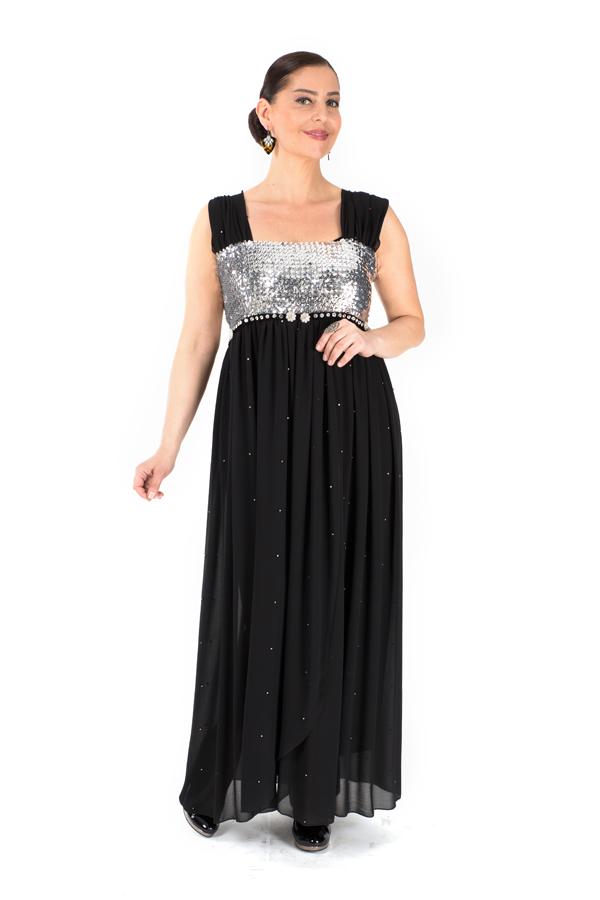 51c4fe2039981 Siyah Gümüş Abiye Elbise   Payette   bicadde.com Taşlı işli siyah krep # elbise