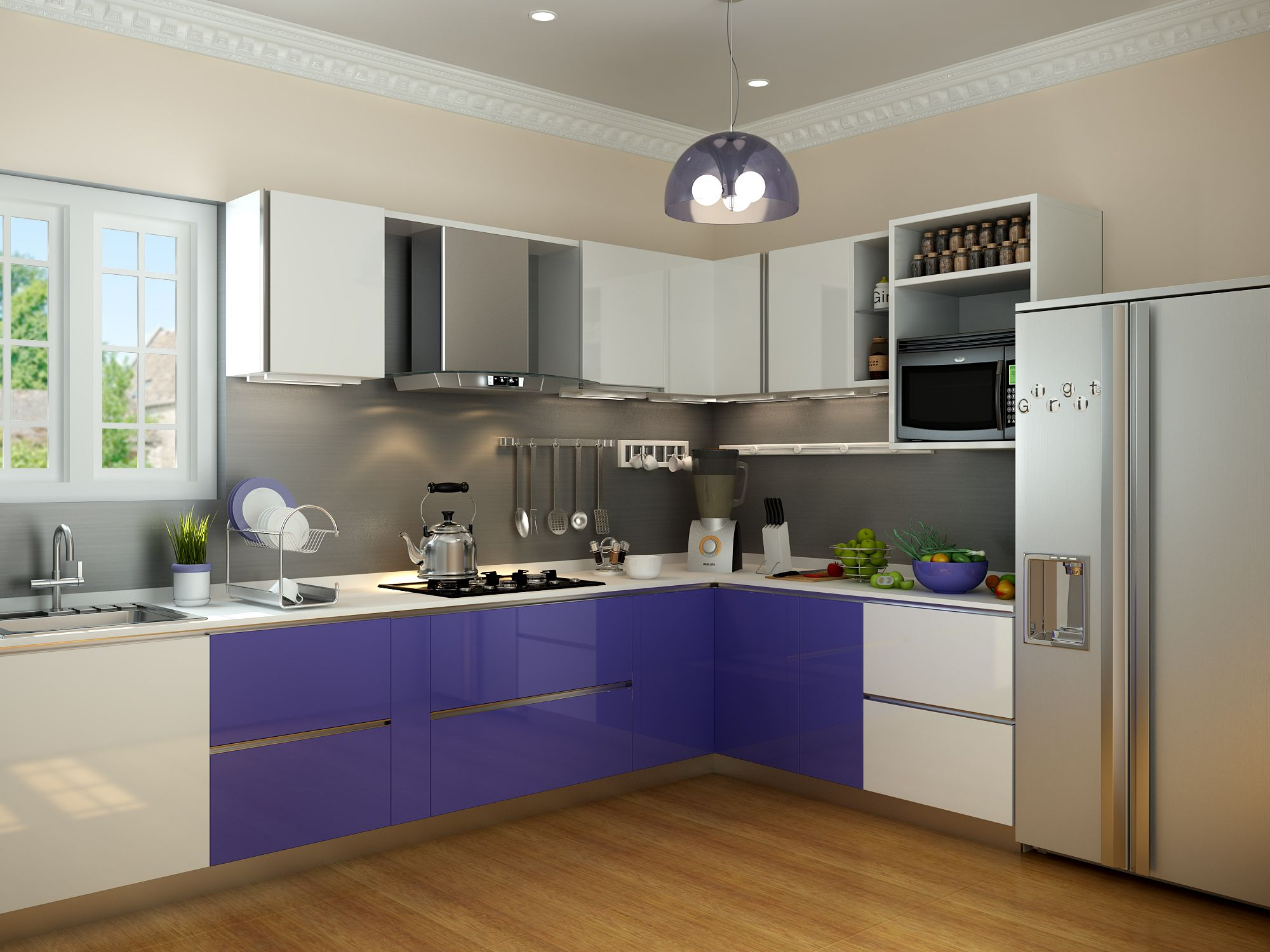 Modular Kitchen in bangalore are made for bringing families together. The flooring is skilfully made out of wooden panels. It enhances the looks of this L shaped culinary space. Purple calms the mind and uplifts the energy in you.