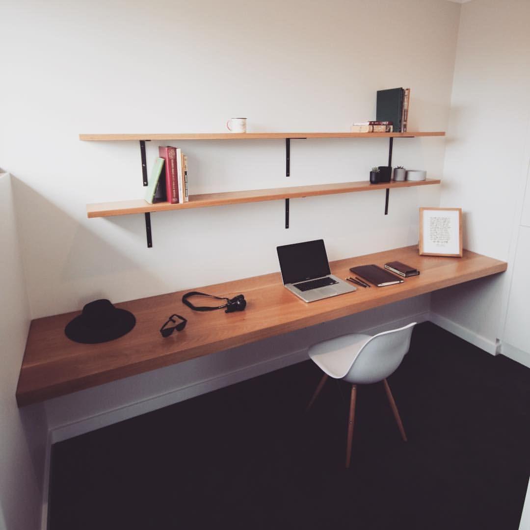 Desk Shelves Heathpolk The Timberwolf On Instagram This 3m Solid Oak Floating Desk Was By Far The Bigg Floating Desk Workspace Inspiration Desk Shelves