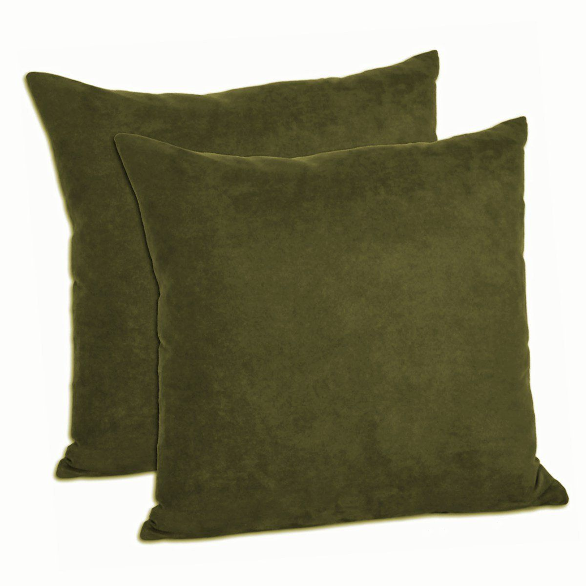"""18""""x18"""" Microsuede Decorative Pillow Shams (Set of 2) (Olive, 18)"""