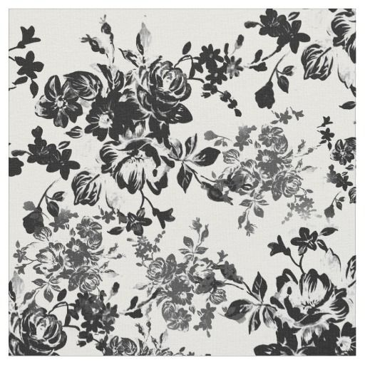 Elegant Chic Vintage Black White Floral Pattern Fabric Black And