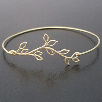 Bridesmaid Gold Olive Branch Bracelet
