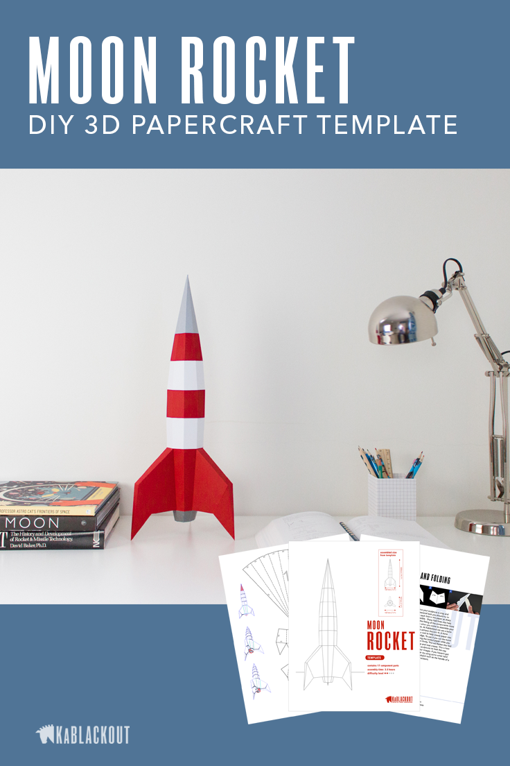papercraft rocket template diy moon rocket 3d paper spaceship low poly spacecraft retro sci. Black Bedroom Furniture Sets. Home Design Ideas