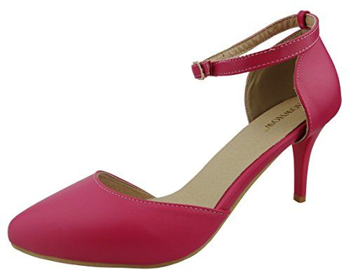 6ed19aac9c7 SHOWHOW Womens Elegant Pointed Toe Ankle Strap High Heel Pumps Shoes Rose  Red 7 BM US