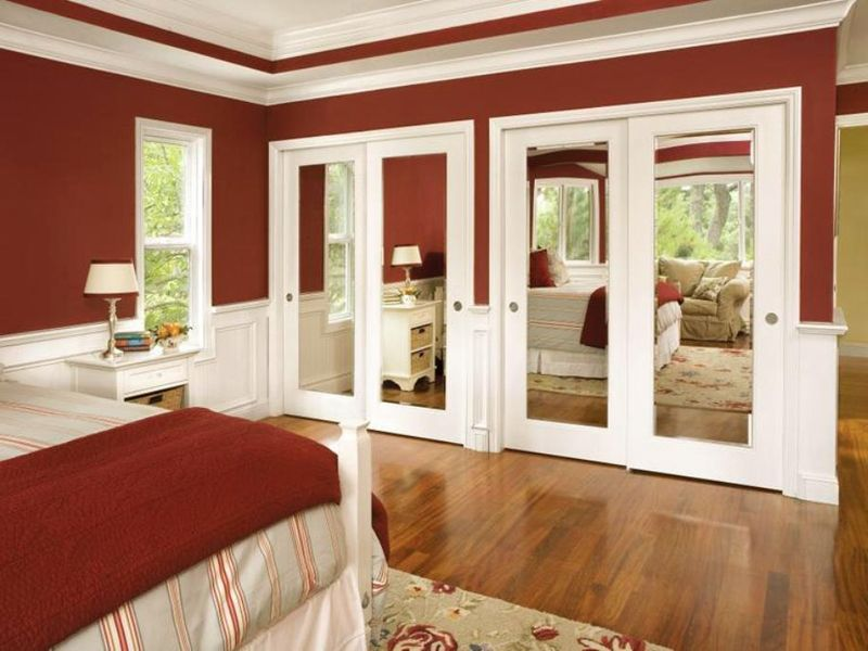 mirrored bifold closet doors without bottom track