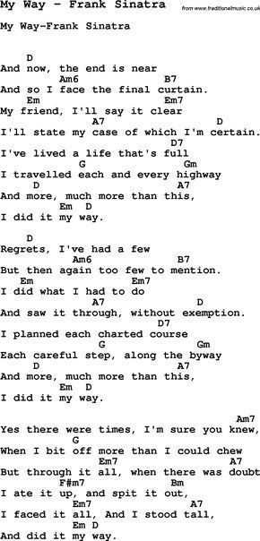 Song My Way by Frank Sinatra, with lyrics for vocal performance and ...