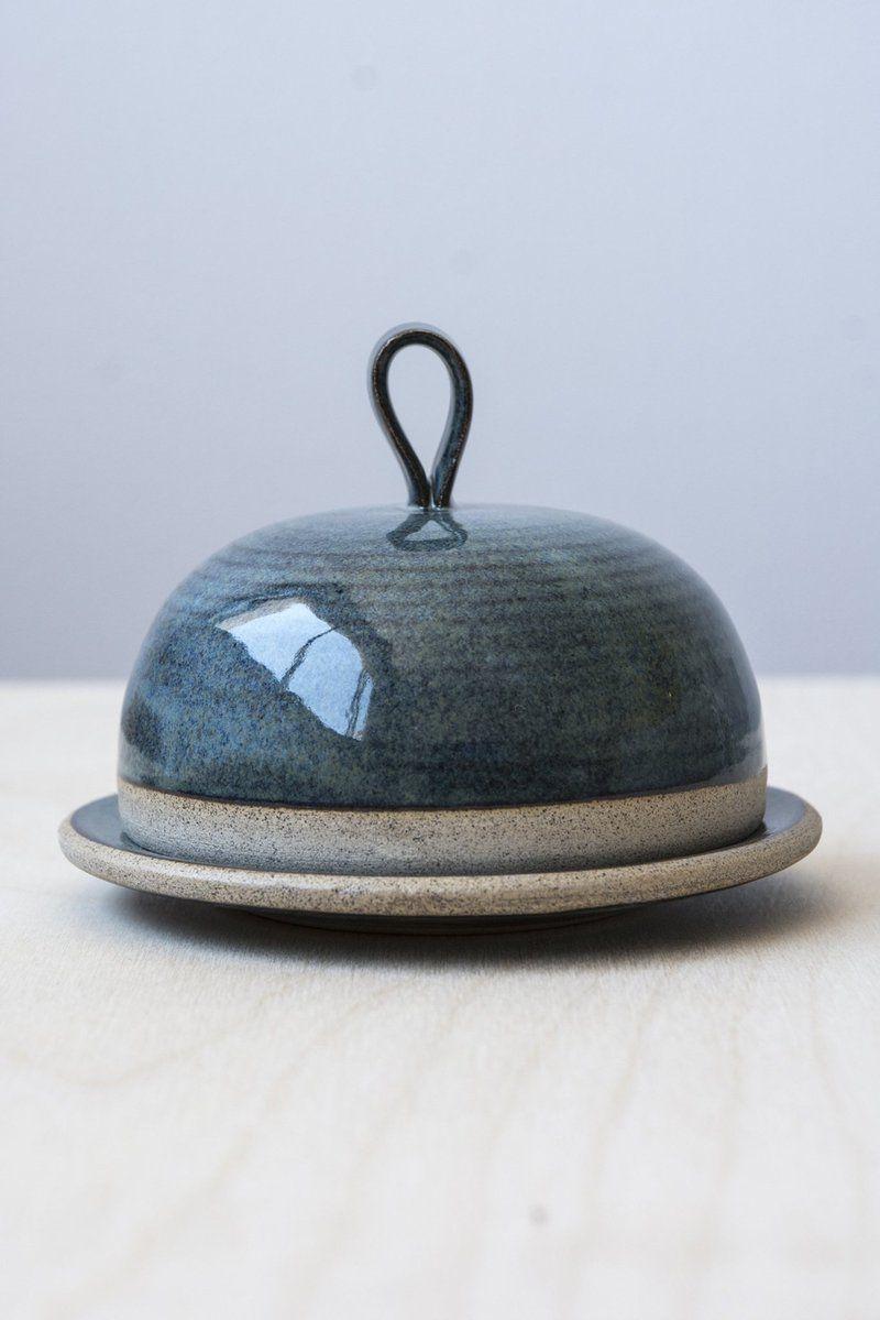 Blue Ceramic Round Butter Dish